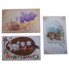 Last Chance SALE Easter Postcards Rabbits Antique Lot of 3