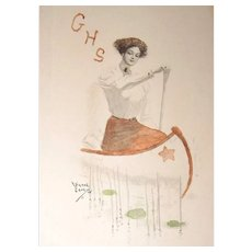 LEAVING SHOP the END of MAY 1911 Girl Scout Hand Colored Lithograph Postcard