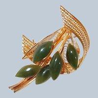 Filigree Pin Spinach Jade Flower Spray