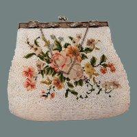 BIG SALE Petitpoint Rose and Beaded Handbag Elaborate Raised Frame