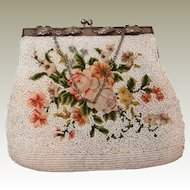Petitpoint Rose and Beaded Handbag Elaborate Raised Frame