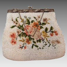 Petitpoint Rose and Beaded Handbag Elaborate Raised Frame