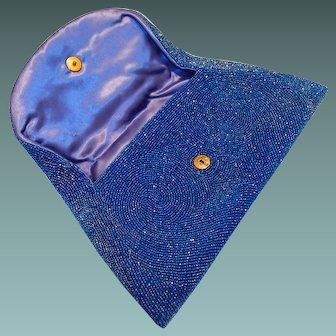 Art Deco Blue Glass Clutch Handbag Hand Made by Walborg