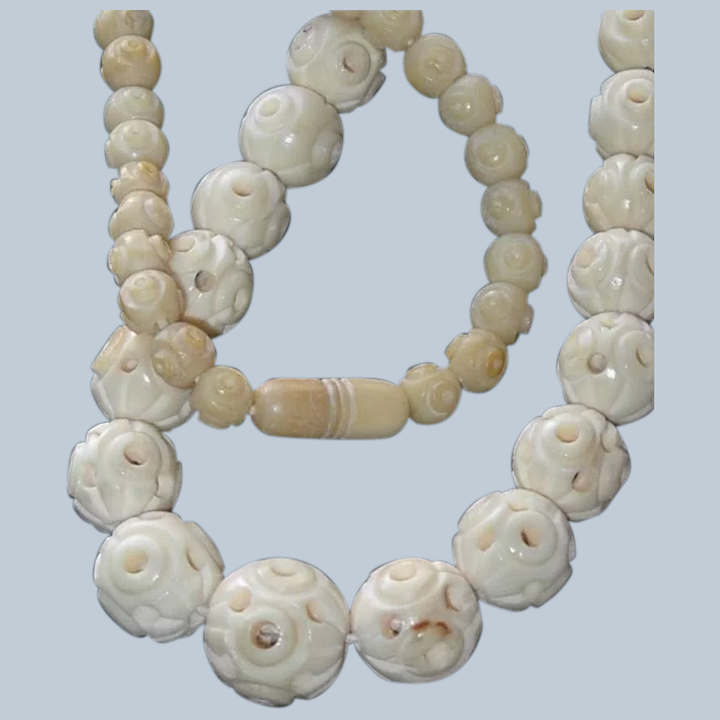 Hand Carved Hollow Bone Chinese Bead Necklace Bangles And Beads Antique And Vintage Jewelry Ruby Lane