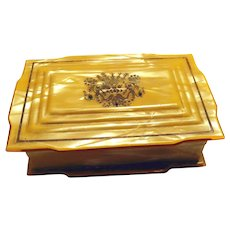 Celluloid Vanity Trinket Box Hand Painted
