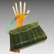 Green Cobra Snakeskin Handbag from the 1940s