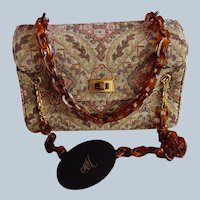Mid Century Tapestry Purse Lucite Chain Handle