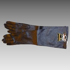 Long Black Kid Grained Gloves Size 6.5