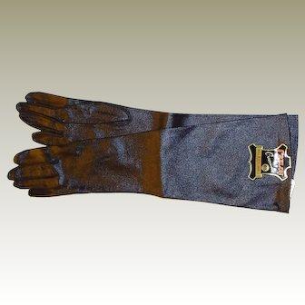 Long Black Kid Grained Gloves Size 6.5
