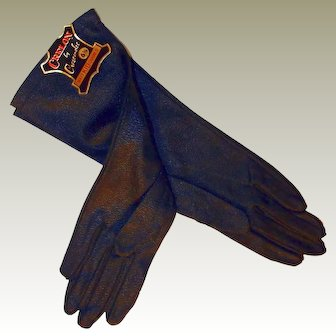Mid Length Black Kid Grained Gloves Size 6.5