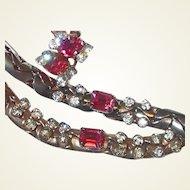 Retro Pink Stud Rhinestone Set FINAL REDUCTION SALE Includes Collar Necklace Bracelet Earrings