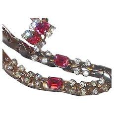 Retro Pink Stud Rhinestone Set Includes Collar Necklace Bracelet Earrings