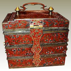 Vintage Ruby Red Iridescent Champlevé Enamel Jewelry Box Indo/Persian