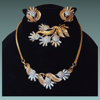 Trifari Alfred Philippe Wedding Set Necklace Earrings Brooch Book Suite