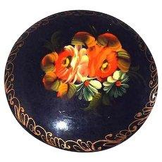 Russian Tole Folk Art Brooch Poppies and Daisies Flowers Souvenir Piece