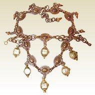 Year End BLOWOUT SALE - Vintage Wrist Watch Face Dangle Necklace and Bracelet Set