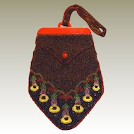 Seed Beaded Red Bakelite Bag Trumpet Vine Floral Motif