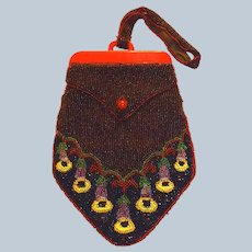 Seed Beaded Red Bakelite Purse Trumpet Vine Floral Motif