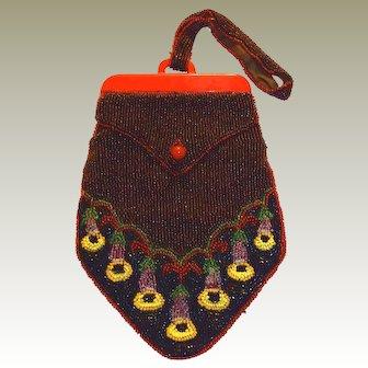 Seed Beaded Red Bakelite Bag Trumpet Vine Floral Motif