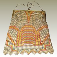 Whiting Davis Geometric Enamel Mesh Bag