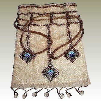 Antique Beaded Peacock Eye Bag Silk Drawstring