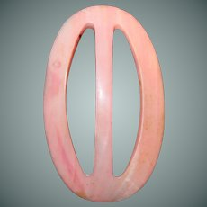 Pearl Pink Dyed Lady Washington Buckle 1930s