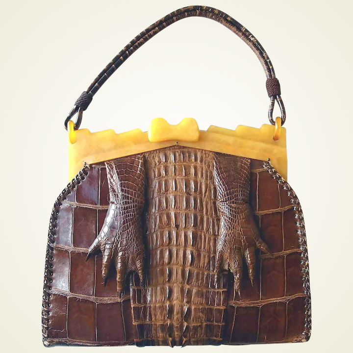 Genuine Alligator Claw Handbag Plastic Frame Book Purse