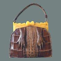 Genuine Alligator Claw Handbag Plastic Frame Book Purse BIG SALE