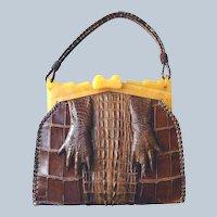 Genuine Alligator Claw Handbag Plastic Frame Book Purse