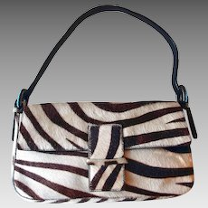 Zebra Stripped Pony Hide Leather Shoulder Bag Turquoise Accents