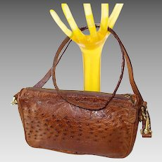 Leather Ostrich Skin Handbag by Holt Renfrew, Italy