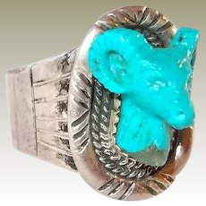 Carved Turquoise Rams Head Mens Sterling Ring