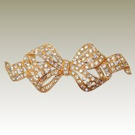Gold Vermeil Bow Pin with Paved Rhinestones FINAL REDUCTION SALE