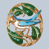 Oval Blue Bird Enameled Brooch
