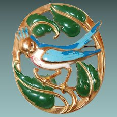 Oval Blue Bird Enameled Brooch