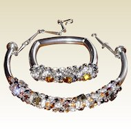 Italian Designer Haute Couture Collar Necklace and Bangle Crystal Set