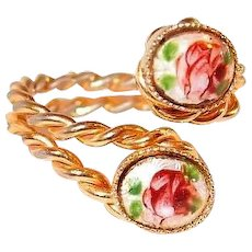 Bypass Ring Rose Gilloche Enamel Costume Ring FINAL REDUCTION SALE