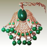 Falcon Bird Pendant Necklace with Green Beads FINAL REDUCTION SALE in Progress