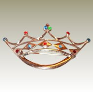 Sterling Crown Pin Gold Wash and Rhinestones
