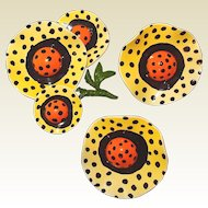 BLOWOUT SALE in Progress: Sunny Polka Dot Yellow and Orange Wavy Flower Brooch and Earring Set