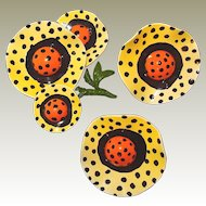 Final REDUCTION SALE Sunny Polka Dot Yellow Orange Wavy Flower Brooch Earring Set