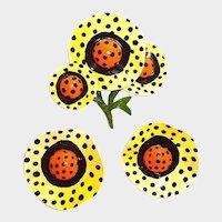 Large Polk-a-Dot  Enamel Flower Brooch Earring Set