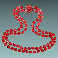 Square Red Plastic Translucent Bead Double Strand Necklace