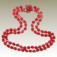 Square Red Plastic Translucent Bead Necklace FINAL REDUCTION SALE