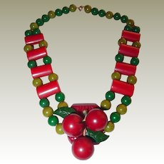 Early Bakelite Cherries Necklace Red Bark Pendant Ladder Red Green Pattern