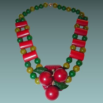 Early Bakelite Cherries Necklace Red Bark Pendant Ladder Red Green Pattern