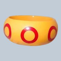 Last Chance SALE Butterscotch Bakelite Bangle with Red Target Polka Dots