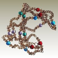 FINAL REDUCTION SALE Multi-color Glass Crystal Bead and Chain Necklace