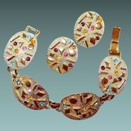 Sarah Coventry Textured Link Abstract Rhinestone Bracelet Earring Sultana Set