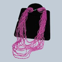 Fuchsia Czech Glass Seed Bead Flapper Necklace